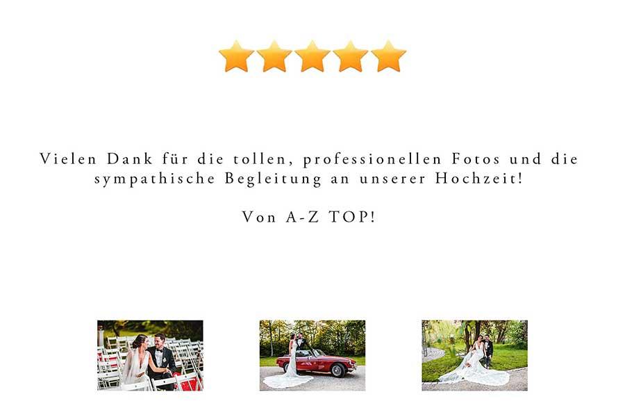 Kundenbewertungen Hochzeitsreportagen Hochzeitsfotografie